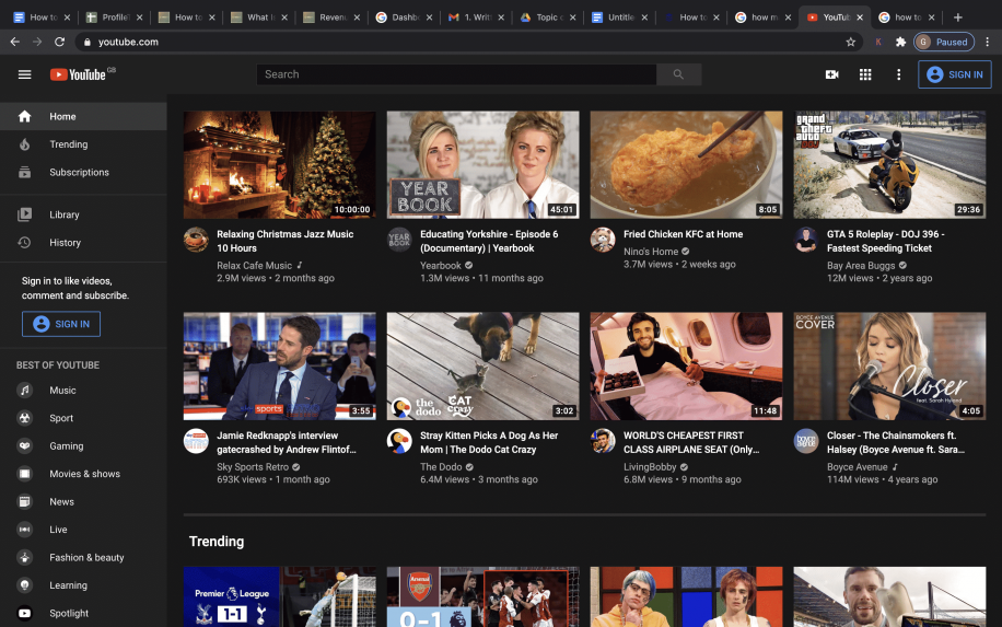 YouTub home page