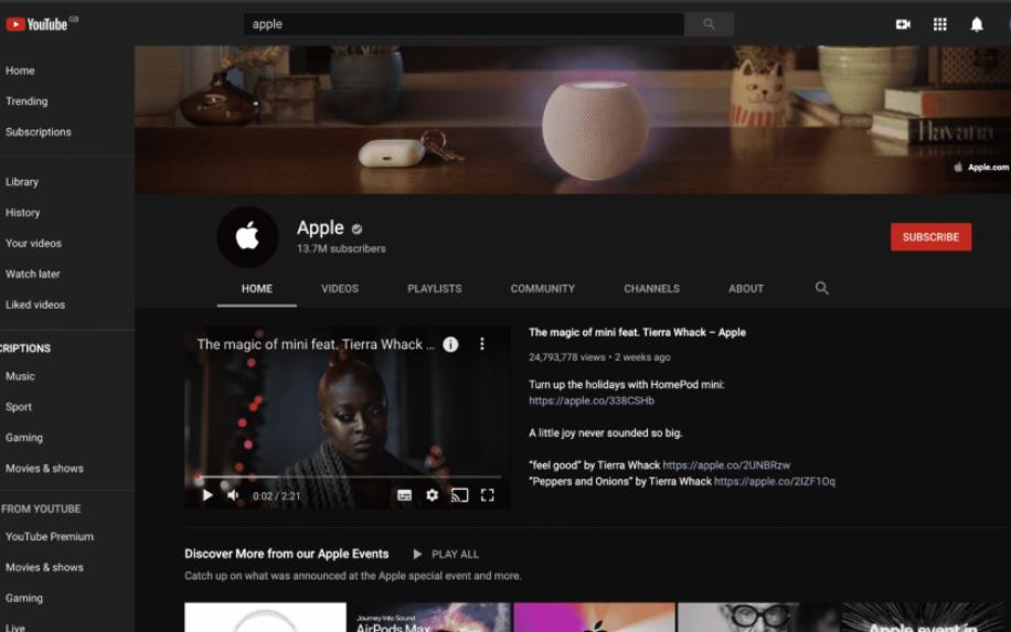 Apple's YouTube channel