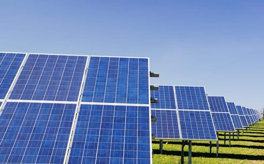 Image showing a solar farm to denote environmental factors.