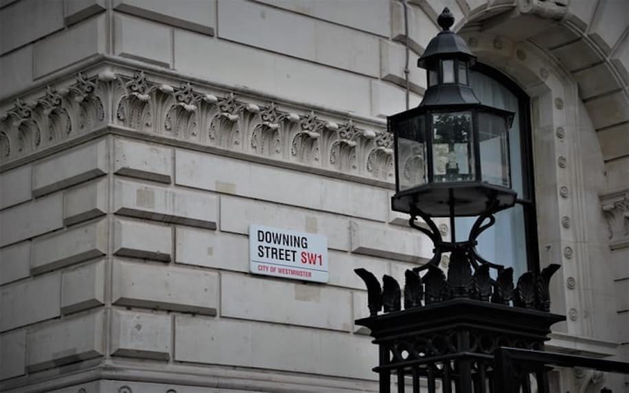 Image showing a downing street sign to denote political factors and forces.