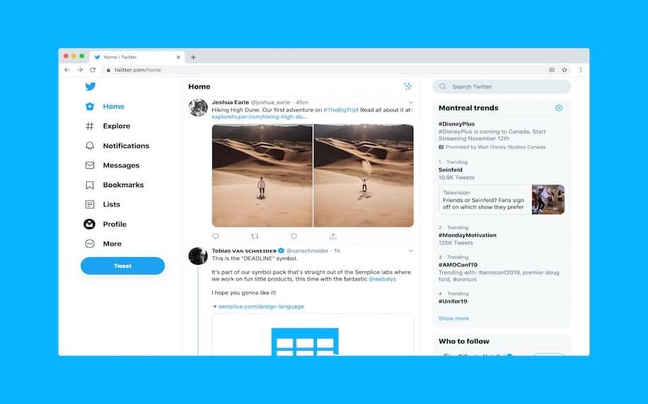 Image showing a screenshot of a Twitter profile to introduce it's functionality.